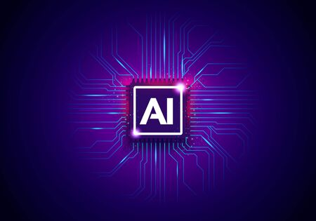 Vector Illustration Artificial Intelligence Technology Background With Cyber Chip And Letters AI.
