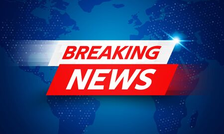 Vector Illustration Breaking News Live Banner on Glowing World Map Business Interface Background