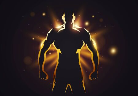 Vector Illustration Silhouette Of Strong Man With Muscles On Golden Glow Background 免版税图像 - 144480337