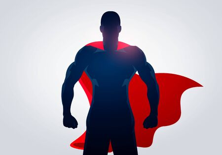 Vector illustration superhero in strong pose with cape. Silhouette Of A Super Hero Man Иллюстрация