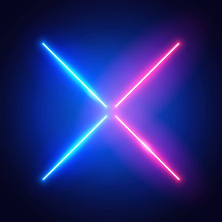 Vector Illustration Futuristic X Sign. Neon Cross In Blue And Red Color.