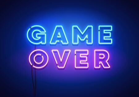 Vector Illustration Modern Game Over Neon Sign With Blue And Pink Glow Effect Иллюстрация