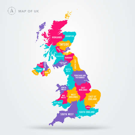 Vector Illustration Colorful Map Of UK United Kingdom With Regions And Names Stock Illustratie