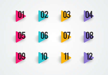 Vector illustration bullet points set. Colorful Triangle With Numbers Иллюстрация