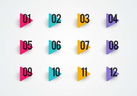 Vector illustration bullet points set. Colorful Triangle With Numbers Illusztráció