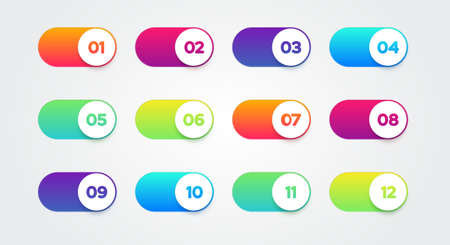 Vector Illustration Colorful Switch Set. Buttons With Numbers.