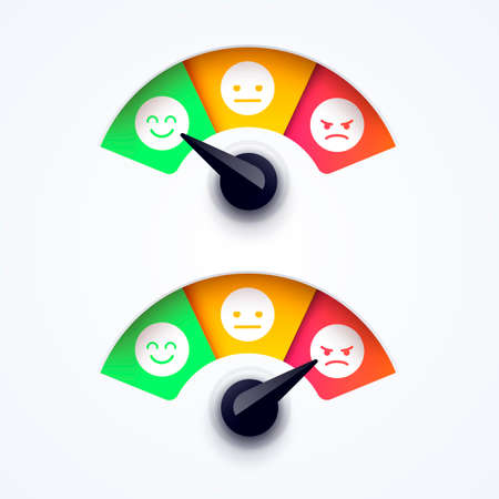 Vector Illustration Customer Feedback, Satisfaction Meter With Different Emotions. 일러스트