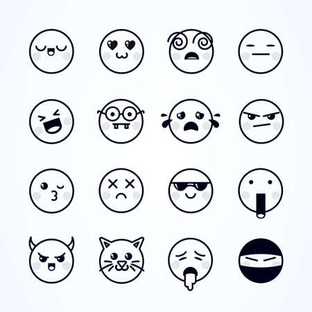 Vector Illustration Different Cute Emojis. Funny emoticons set.