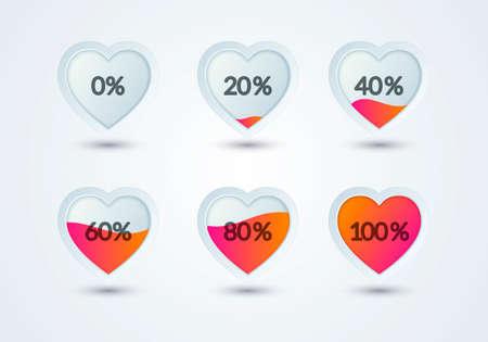 Vector Illustration Rating Hearts Set. Heart Shape Filled With Love Illusztráció