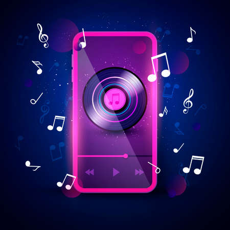 Vector Illustration Music App Interface In Neon Color Retro Design. Illusztráció