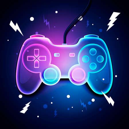 Vector illustration retro neon color game controller. Futuristic Joystick Gamer Design