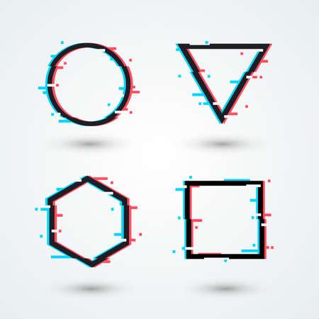Vector Illustration Modern Cyber Glitch Icon. Retro 3D Shapes Set