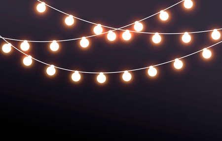 Vector Illustration Fairy Lights On Dark Background
