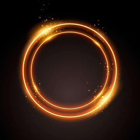 Vector illustration gold circle. Modern Golden Sparkle Light On Black Background.