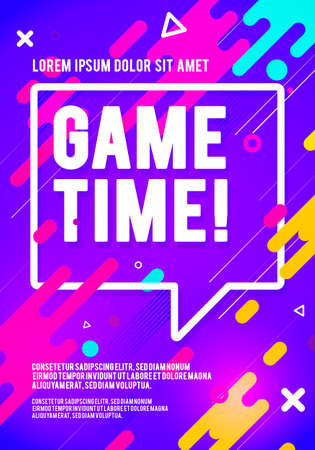 Vector illustration game time player poster. Colorful Flyer About Gaming