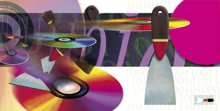 cds: Illustration of the printing process with CDs and DVDs used symbolically.