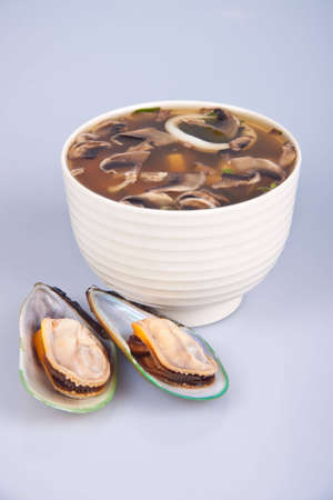 brine: A traditional Japanese soup made from the brine in a white plate Stock Photo