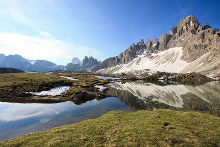 lakes of Piani and mount Paterno  Dolomites  Stock Photo