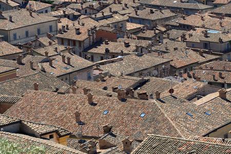 umbria: roofs in Gubbio  Umbria  Stock Photo