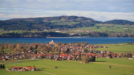schwangau: Forggensee town in Schwangau, Bavaria, Germany  Stock Photo