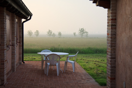 rural house and the Veneto countryside at dawn photo
