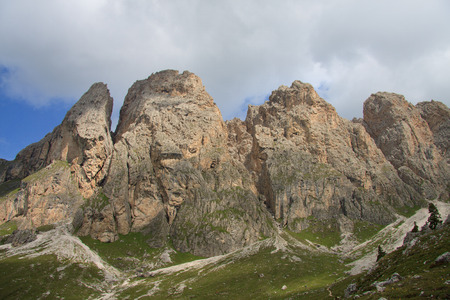 The Odle from Alpe of Cisles  Val Gardena  Stock Photo