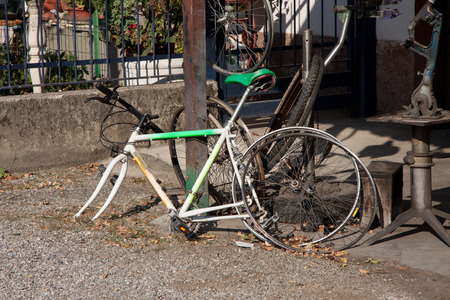 disuse: old bicycle into disuse
