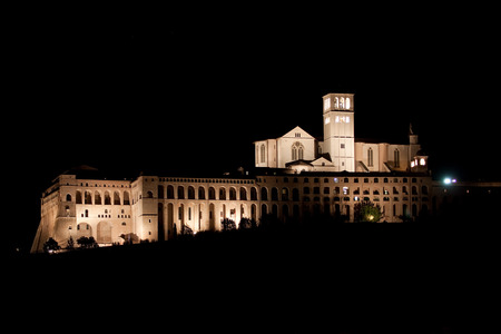 st  francis: Basilica of St  Francis at night  Assisi