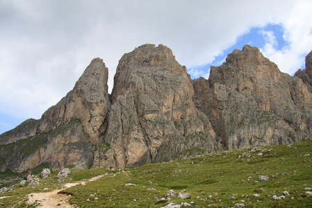 The Odle from Alpe of Cisles in  Val Gardena  Editorial