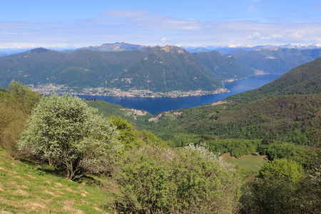 lake como: lake Como from mount Bolettone