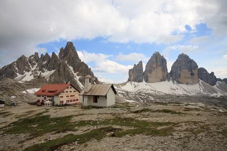 paternal: three Peaks, Monte Paterno and refuge Locatelli