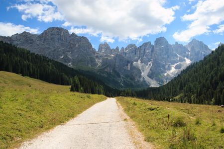 matchmaker: path in Val Venegia. In the background the Pale di San Martino Stock Photo