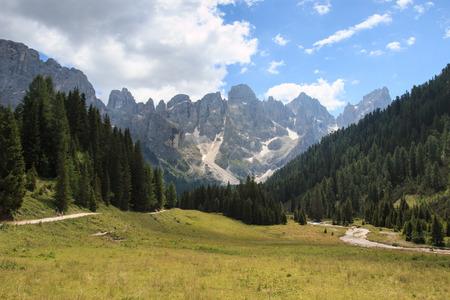 Val Venegia. In the background the Pale di San Martino
