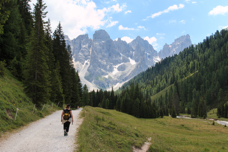 martino: path in Val Venegia. In the background the Pale di San Martino Stock Photo