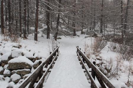 slump: snowy landscape in Pont, in Valsavarenche, in the Gran Paradiso National Park Valle dAosta Stock Photo
