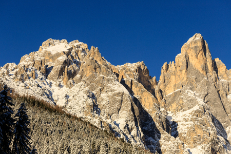 Sass Maor and Cimerlo (Pale di San Martino group) photographed from Val Canali, in the Paneveggio nature park