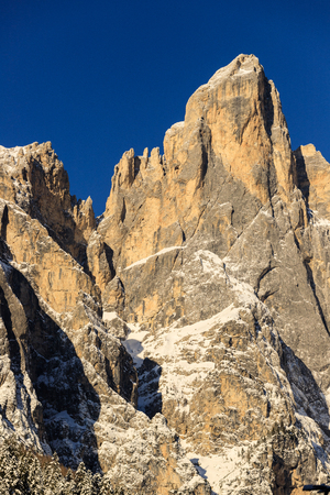 Sass Maor (Pale di San Martino group) photographed from Val Canali, in the Paneveggio nature park