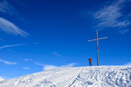 cross on the top of the Foisc lace, in the Lepontine Alps (Switzerland)