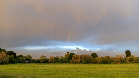 panorama with rainbow in the Po Valley Banco de Imagens