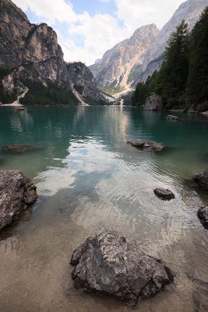 Braies lake - Dolomites Banco de Imagens - 101676477
