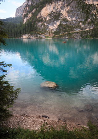 Braies lake - Dolomites Stock Photo