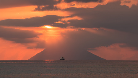 sunset on the island of Stromboli from Capo Vaticano Banco de Imagens