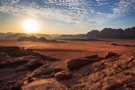 sunset in the desert Wadi Rum, Jordan