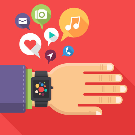 Concept of smart watch on businessman arm with colorful interface and flying multimedia icons. Trendy vector illustration in flat style. Vector
