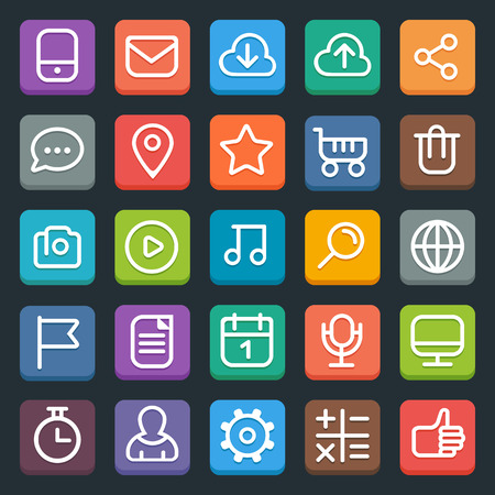 roundness: Set of 25 flat trendy icons for web and mobile applications. Full editable vector. Illustration