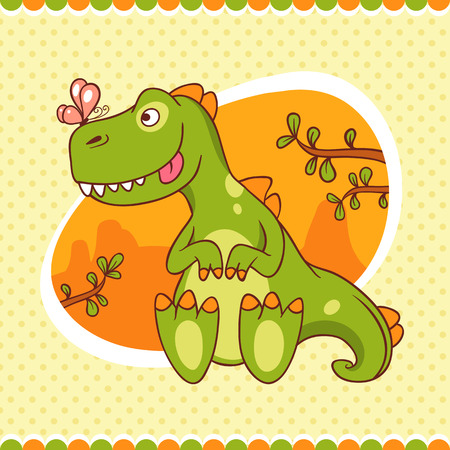 Jolly green baby dinosaur looks at shrunken butterfly on his nose. Hand-drawn card. Ideal as a childrens book, or print for baby clothes. Vector
