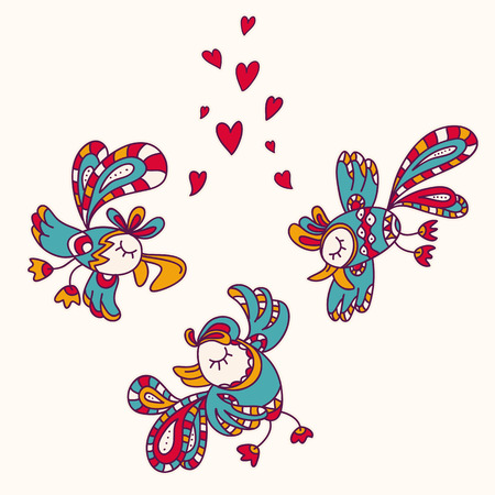 beguin: Beautiful, hand-drawn colorful exotic birds in flight. Fully editable vector. Ideal to use as a print on textiles.