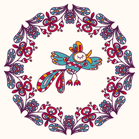 multi cultural: Beautiful, hand-drawn colorful exotic bird in the circle of flowers. Fully editable vector. Ideal to use as a print on textiles.