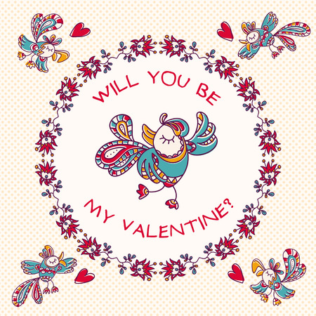 beguin: Beautiful, hand-drawn colorful exotic birds in flight. Fully editable vector. Illustration of Valentines Day. Illustration