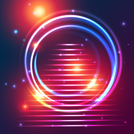 annular: Colorful glowing cosmic portal annular shape with steps on a background of twinkling stars and flashes. Fully editable vector illustration.
